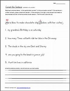 punctuation correction worksheets 4th grade 20950 correct the sentence capitalization and punctuation worksheet punctuation worksheets