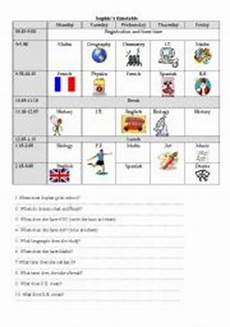 esl kids worksheets school timetable