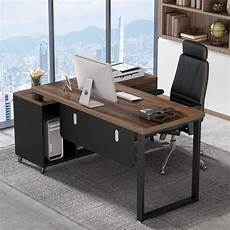 home office computer desk furniture tribesigns 55 inch large executive office desk l shaped