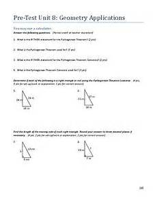 geometry application worksheets 626 pre test unit 8 geometry applications 8th grade worksheet lesson planet