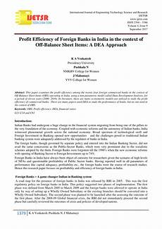 pdf profit efficiency of foreign banks in india in the context of off balance sheet items a