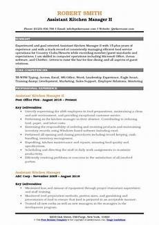 Kitchen Manager Description Pdf by Assistant Kitchen Manager Resume Sles Qwikresume