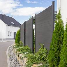 Wpc Sichtschutzzaun Sichtschutz V2 Grau 170 X 180 Cm 3x