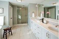 White Master Bathroom With Gray Concrete Tile Floor
