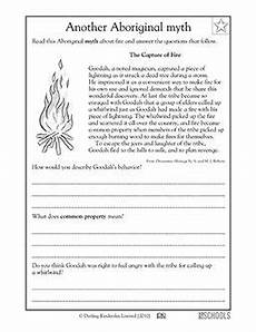 3rd grade reading writing worksheets reading comprehension myth about fire reading passages