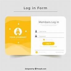 creative yellow login form design vector free download