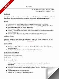 software developer resume sle objective skills computer programming pinterest resume