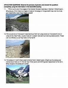 earth science glaciers worksheets 13303 what are glaciers non fiction reading review application questions earth science lessons