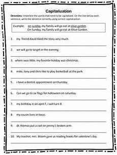 capitalization worksheet grammar worksheets 1st grade