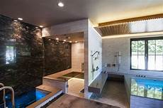therapeutic at home spa features a cold plunge pool tub walk in showers and sauna not