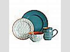 Baum Tangiers 16 Piece Dinnerware Set in Turquoise   Bed