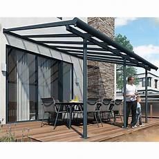 couverture abri jardin abri de terrasse structure grise et toit translucide 3x5 m