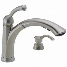 delta kitchen faucets shop delta lewiston stainless 1 handle pull out kitchen faucet at lowes