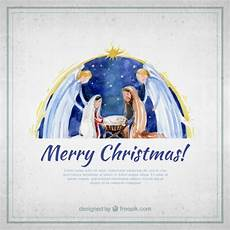 merry christmas card with watercolor nativity vector free download