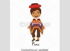Clip Art Vector of Boy In Peru Country National Clothes