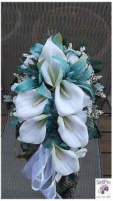 blue real touch bouquet with white calla lilies by