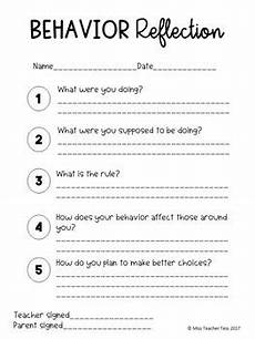behavior reflection sheet by miss teacher tess tpt