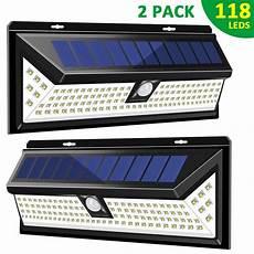 2 118 led solar l pir motion sensor wall light waterproof 1000lm high bright emergency