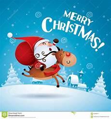 merry christmas santa claus a rudolph reindeer stock vector illustration of symbol