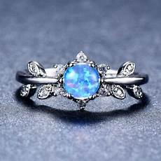 925 silver pave leaf cz six claws blue fire opal wedding band rings ebay