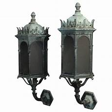 english pair of gothic bronze antique wall lanterns for