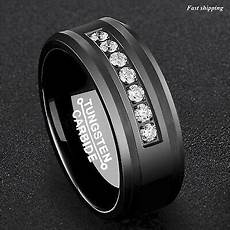 8mm black tungsten carbide ring diamonds inlay comfort fit atop men wedding band ebay