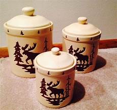 rustic kitchen canister sets moose rustic ceramic flour sugar coffee storage