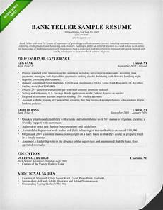 bank teller resume sle writing tips resume genius