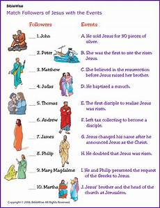 match the followers of jesus with the events kids korner biblewise sunday school kids