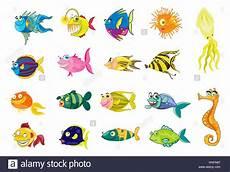 Malvorlagen Unterwasser Tiere Lustig Comic Illustrationen Isoliert Tier Fisch