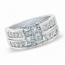1 00 ct t w quad princess cut diamond bridal set in 14k