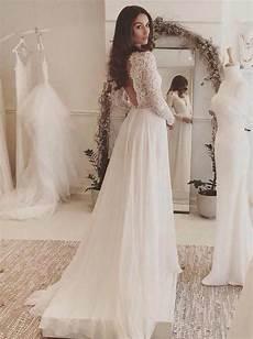 long sleeves wedding dress beach wedding dress lace chiffon bridal dre wishingdress