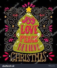 love peace believe quote merry christmas lettering decorative design elements and