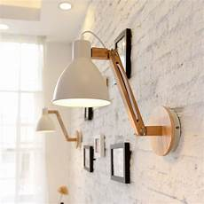 nordic wood bedroom bedside wall l creative adjust arm aisle study led wall light fixtures