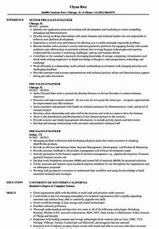 pre sales engineer resume sles velvet
