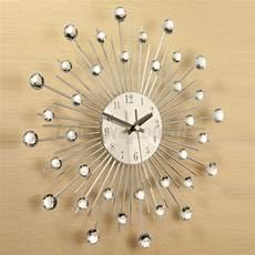 33cm modern diamante wall clock silver