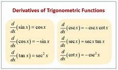 calculus trigonometric derivatives exles solutions