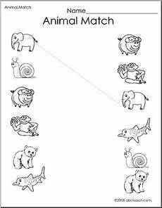animals worksheets for kindergarten 14059 worksheet match the animals 2 preschool primary b w abcteach