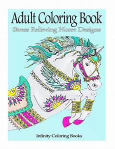 adult coloring book stress relieving horse designs by
