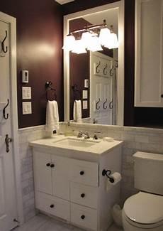 Bathroom Ideas Brown Vanity by Bathroom Idea White Vanity Trim And Wall Tiles Darker