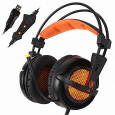 Wired Gaming Earphone Stereo Surround Sound by Sades A6 Usb Gaming Headphones Professional Ear
