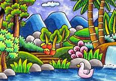 50 Lukisan Pemandangan Alam Gunung Laut Dan Pantai Indah