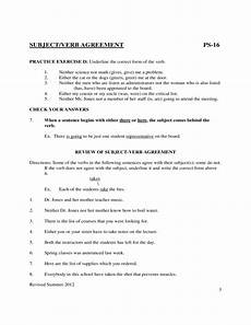 subject verb agreement worksheets sle free download