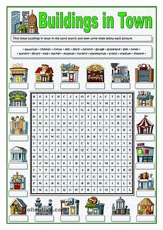 esl worksheets places in town 16001 buildings in town wordsearch school building and worksheets