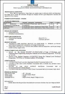 resume format for freshers of electronics and comunication resume blog co beautiful one page resume cv sle in word doc of a b e e c bachelor of