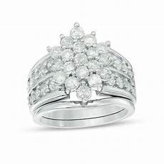 2 1 8 ct t w composite diamond marquise sunburst bridal in 10k white gold engagement