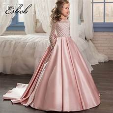eslieb lace flower girl dresses for weddings 2017 pink