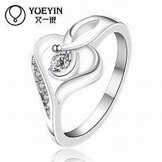 new design silver rings for heart shape wedding ring inlaid stone fashion jewelry inlaid