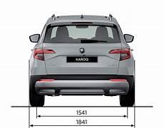 Skoda Karoq Abmessungen - front and rear view en škoda karoq digital media kit