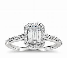 emerald cut halo diamond engagement ring in platinum